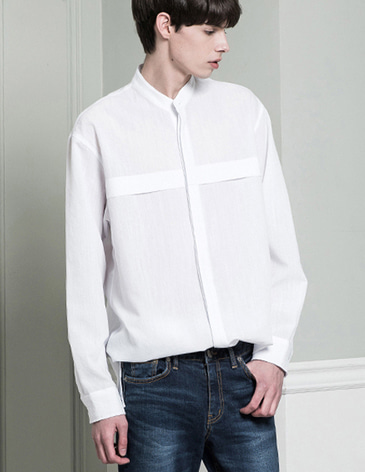 STAND COLLAR LINEN SHIRTS [WHITE]