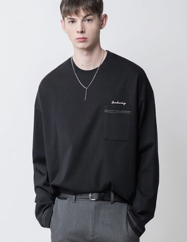 LONG SLEEVE OVERFIT POCKET T-SHIRT [BLACK]