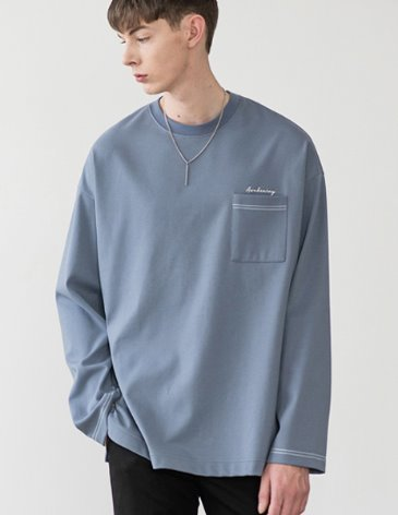LONG SLEEVE OVERFIT POCKET T-SHIRT [SKY BLUE]