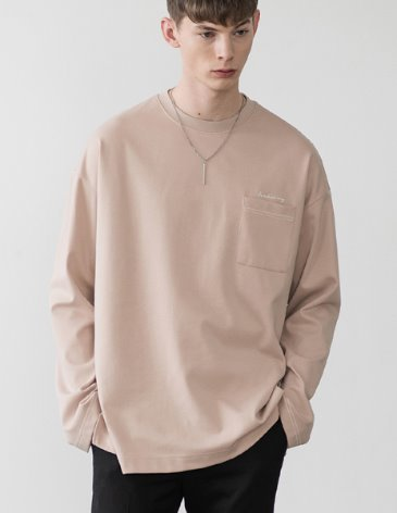 LONG SLEEVE OVERFIT POCKET T-SHIRT [BEIGE]