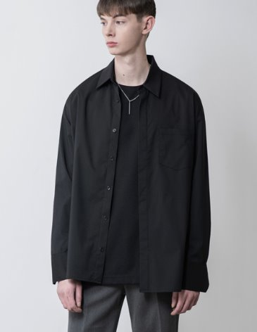 SENSUAL OVERFIT WIDE SHIRT [BLACK]