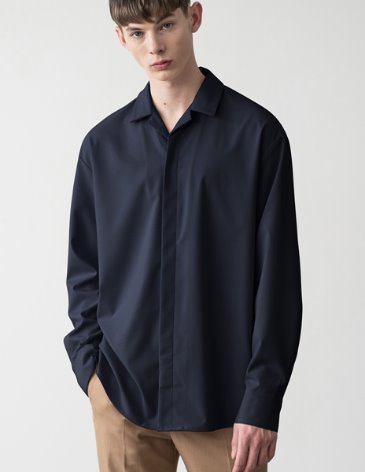 HIDDEN LOOSE FIT OPEN COLLAR SHIRT [D. NAVY]