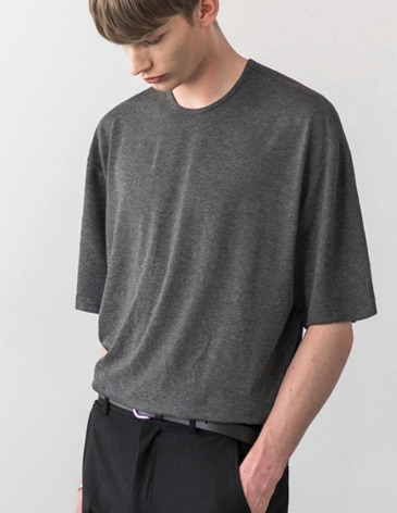 USUAL LOOSE FIT TENCEL T-SHIRT [M.GREY]