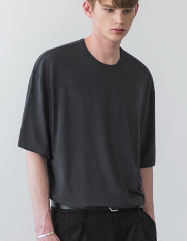 USUAL LOOSE FIT TENCEL T-SHIRT [D.GREY]