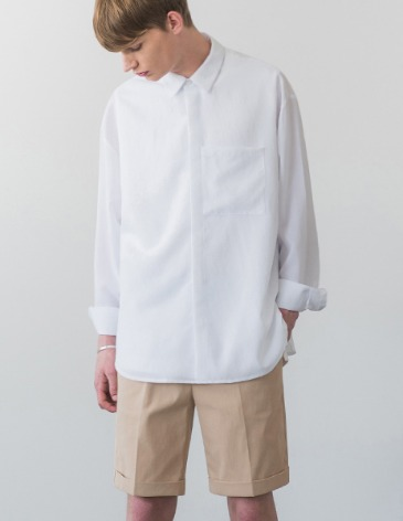 LINEN TEXTURED POCKET SHIRT [WHITE]