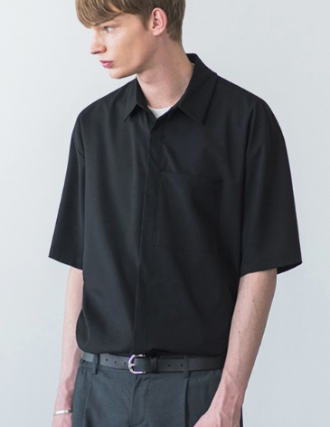 MINIMAL BALANCING POCKET SHIRT [BLACK]