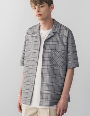 BREEZE CHECK OPEN COLLAR SHIRT [GREY BLUE]