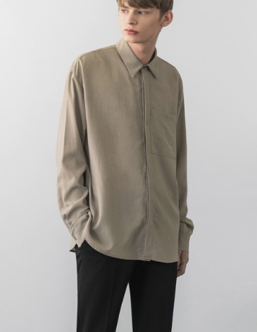 LINEN TEXTURED POCKET SHIRT [SMOKE BEIGE]