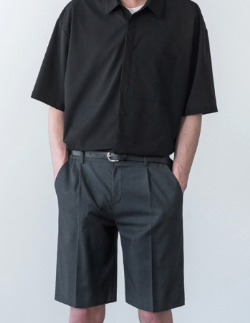 SEMI WIDE HALF SLACKS [CHARCOAL]
